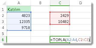 İki farklı sayı aralığı için TOPLAM işlevinin kullanımı