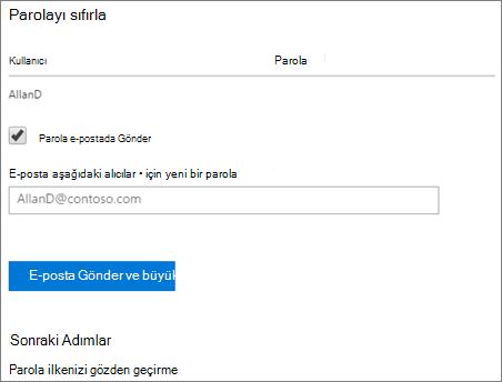 Ekran görüntüsü: Gönder parola bildirim e-posta kullanıcıya sıfırlama