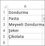 birleşik giriş kutusunda kullanılacak değer listesi