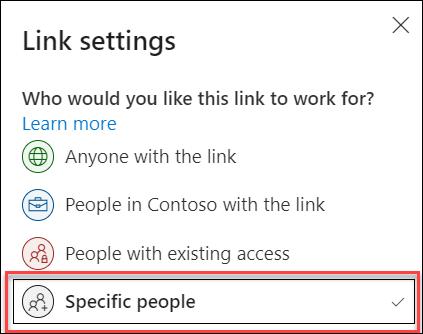 OneDrive 'daki belirli kişilerle Ilgili bağlantı ayarı vurgulanmış olarak bağlantı ayarı.