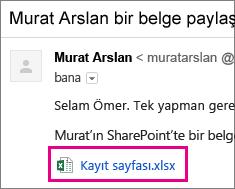 Alıcıyı belge paylaşmaya davet eden e-posta