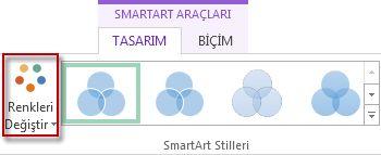 SmartArt Stilleri grubundaki Renkleri Değiştir seçeneği