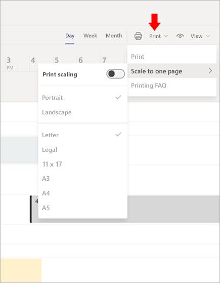 Vardiyalar'da zamanlama Microsoft Teams yazdırma
