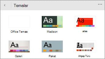Windows Phone için PowerPoint 'teki Temalar menüsü.