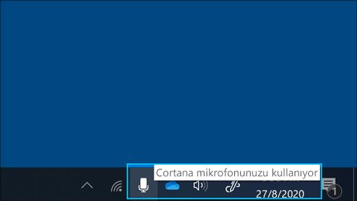 Cortana etkin durumdayken mikrofon simgesinin ekran görüntüsü.