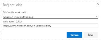 Web üzerinde Outlook 'ta köprü iletişim kutusu.