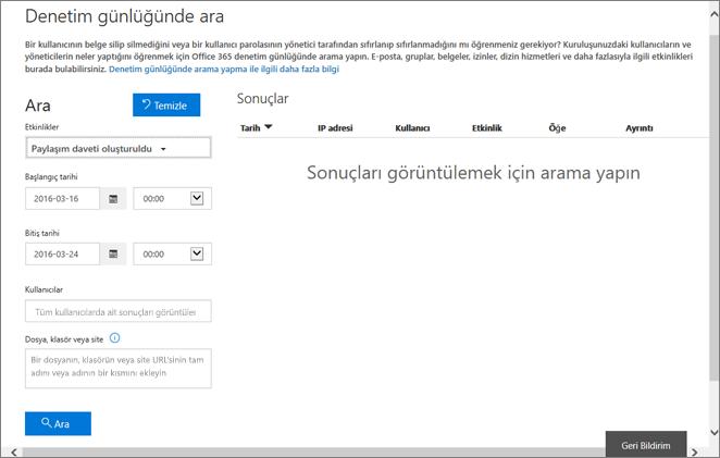 Davetiye oluşturma için filtrelenmiş Office 365 Etkinlik Raporu