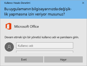 Kullanıcı Hesabı Denetimi penceresini gösteren ekran görüntüsü