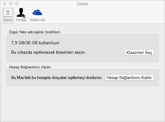 Mac için OneDrive'da Klasörü eşitleme seçimi