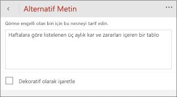 Windows Phone için PowerPoint 'te tablolar için alternatif metin iletişim kutusu.
