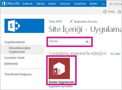 SharePoint'teki Uygulama ekle sayfasında Access uygulaması için arama yapma