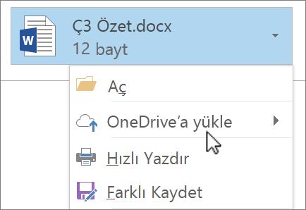 Karşıya Yükle komutunun seçili olduğu bir ekli dosyayı gösteren Outlook yazma penceresinin ekran görüntüsü.
