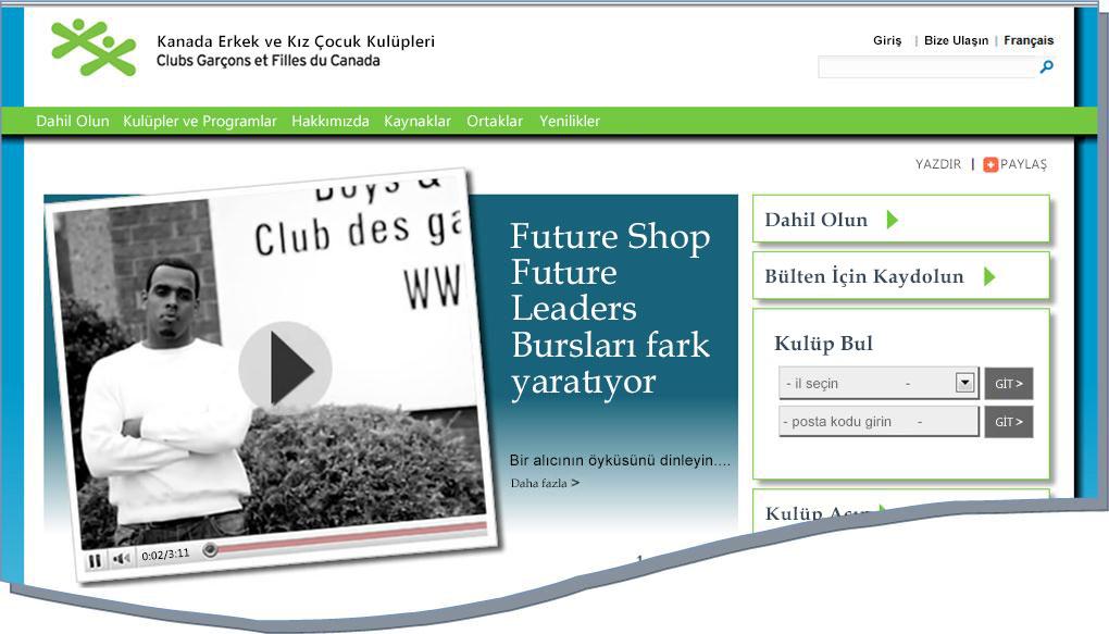 BGCC web sitesinin anlık görüntüsü