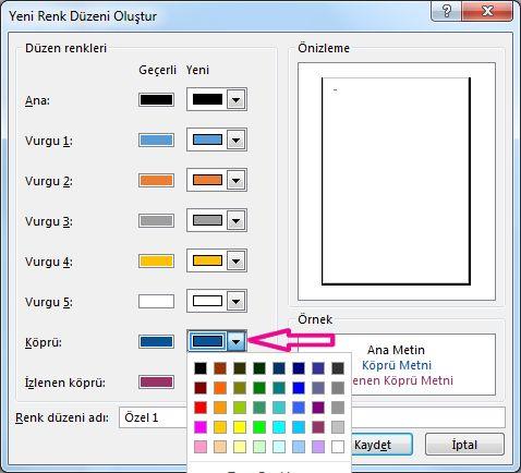 Köprü renklerini değiştirmek için yeni bir Publisher renk düzeni oluşturma