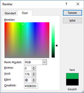 Özel renkleri gösterir
