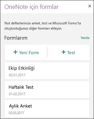 OneNote için Formlar panelinde formların ve testlerin listesini gösterir.