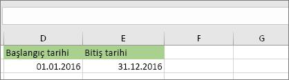 D53 hücresindeki başlangıç tarihi 01.01.2016, E53 hücresindeki bitiş tarihi ise 31.12.2016'dır