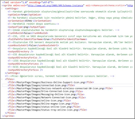 Sprite XML dosyasının ekran görüntüsü