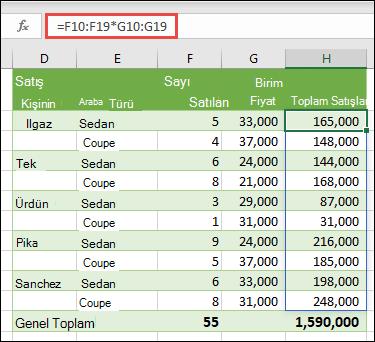 H10 = F10 hücresinde çok hücreli dizi işlevi birim fiyata göre satılan araba sayısını hesaplamak için