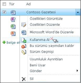 """SharePoint listesinde seçili Word dosyası açılan listesi. """"Kullanıma Al"""" vurgulanmış."""