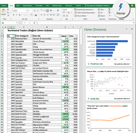 Excel'deki fikirler