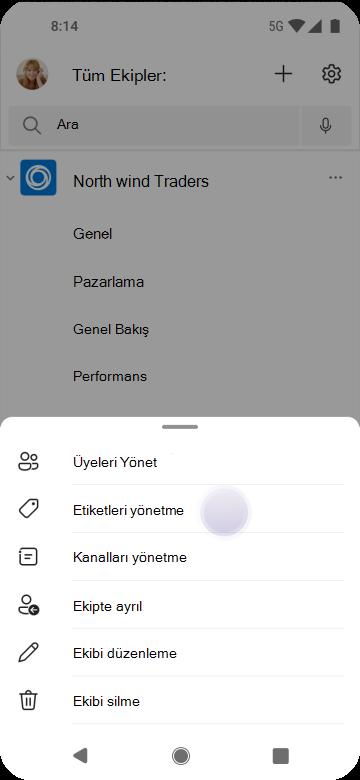 Android kullanarak Teams'de etiketleri yönetme