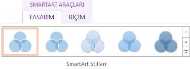 SmartArt Araçları Tasarım sekmesindeki SmartArt Stilleri grubu