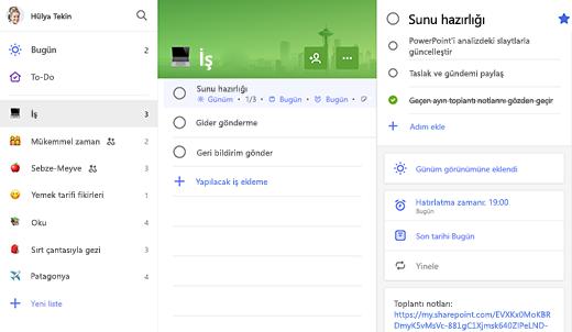 Sunu için Hazırlık içeren Çalışma listesinin Ekran Görüntüsü, ayrıntılar görünümünde açık