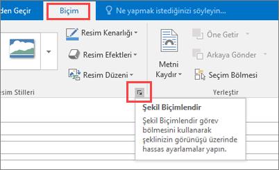 Şekli Biçimlendir seçeneği seçili durumdayken Biçim sekmesini gösteren Outlook kullanıcı arabiriminin ekran kırpması.