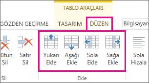 Tablolarda satır ve sütun eklemek için düzen seçeneklerinin görüntüsü