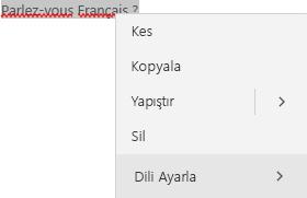 Dil ayarı yapmayla ilgili bağlam menüsünü gösteren seçilmiş Fransızca metin.