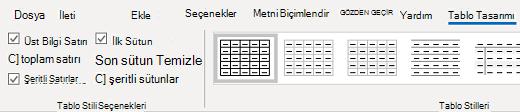 Windows için Outlook tablo Tasarım tablosu grubu