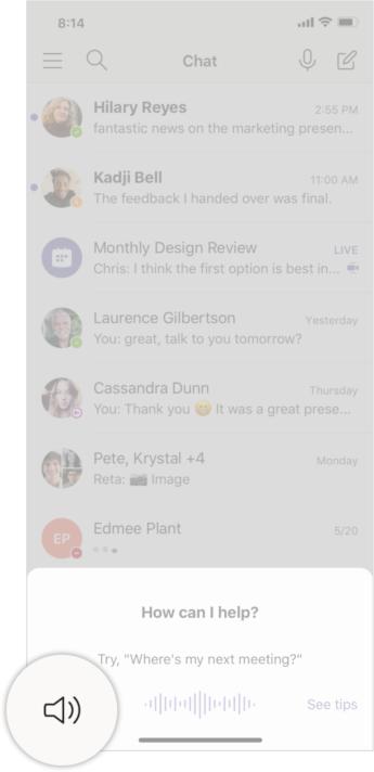 Cortana Mobil: hoparlör simgesi vurgulanmış