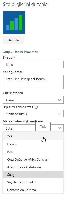 Bir SharePoint hub sitesi siteden ilişkisini kaldırma