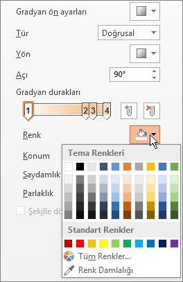 Her bir gradyan durağının rengini değiştirme