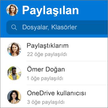 Android için OneDrive uygulamasındaki paylaşılan dosyalar görünümü