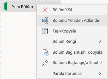 Windows 10 için OneNote'ta bölüm sekmesini yeniden adlandırmak için bağlam menüsünün ekran görüntüsü.