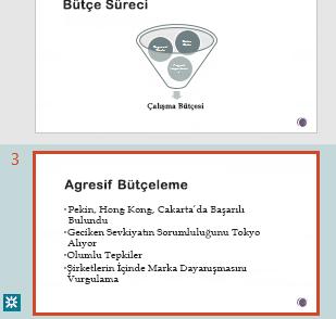 PowerPoint'in küçük resim bölmesinde düzeltmeleri vurgulama