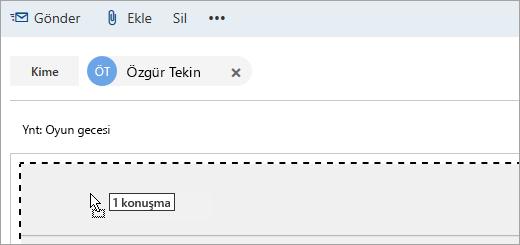 Oluştur bölmesine sürüklenen iletinin ekran görüntüsü