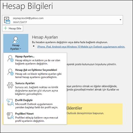 Outlook 'ta değiştirebileceğiniz birden çok hesap ayarı türü vardır.
