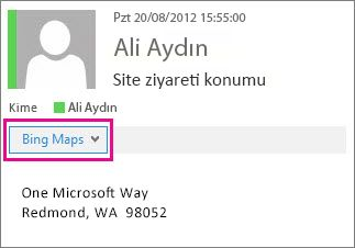 Bing Haritalar uygulamasını gösteren Outlook iletisi