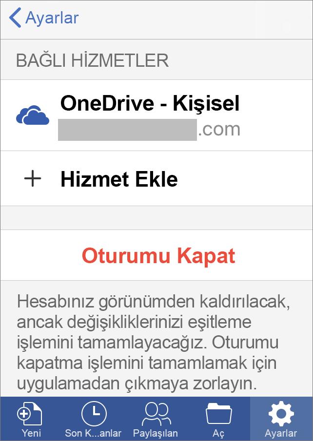 iOS için Office'te Oturum kapatma seçeneğini gösterir