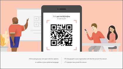 Canlı Sunular'PowerPoint QR kodunu ve katılma URL'sini gösteren birleştirme ekranı.
