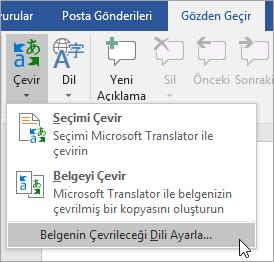 Belge çeviri dilini Ayarla altında theTranslate menüsünü gösterir