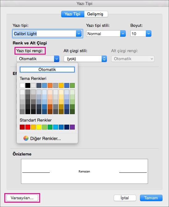 Yazı Tipi kutusunda Yazı Tipi rengi ve Varsayılan seçenekler vurgulanır.