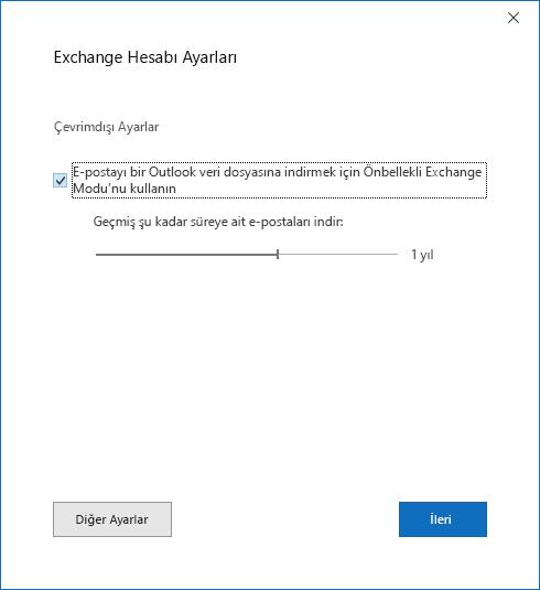 Hesap Kurulumu iletişim kutusunda, Exchange hesabı ayarları sayfası.