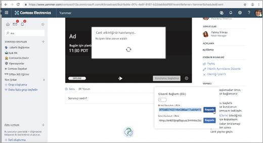 Yammer Live event dış kodlayıcı için ayarlanırken görüntülenen sayfa