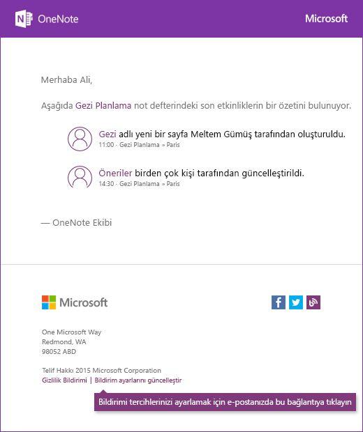 Örnek OneNote bildirim e-posta iletisi