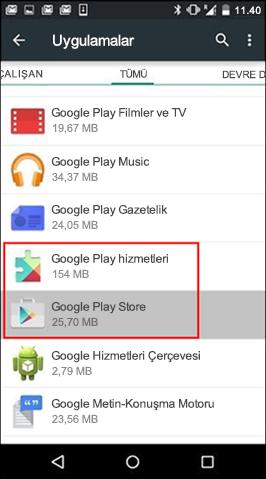 Google Play Store Uygulamasında Önbelleği Temizleme