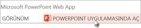 Sununuzu PowerPoint masaüstü uygulamasında açma